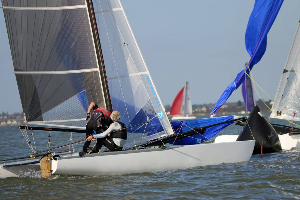 John Payne and Josh Hunt racing their Tornado catamaran